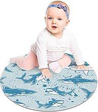 Gordesc, tappeto rotondo con squalo blu, lavabile,