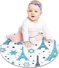 GordeSC - Tappeto rotondo con torre Eiffel ad