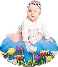 Gordesc, tappeto rotondo con tulipani colorati,