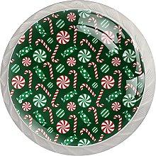 Green Christmas Candy Pattern (4 pezzi) 4 pomelli