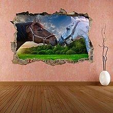Grigio Brown Horses Animale 3D Adesivo Murale