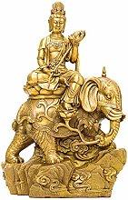 GRX-ART Pu Xian Buddha Statua di in Rame Puro,