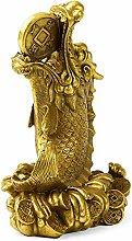 GRX-ART Rame Puro Fortunato Statua di Pesce Drago,