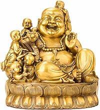 GRX-ART Statua di Buddha Maitreya in Ottone,