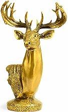 GRX-ART Statua di Testa di Cervo in Puro Rame,