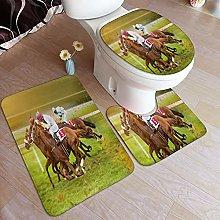 GUVICINIR Tappeto Bagno Set 3 Pezzi,Equitazione