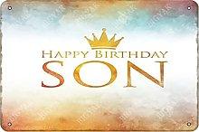 Happy Birthday Son Iron 20 x 30 cm Look Vintage