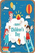 Happy Childrens Day Tin 20X30 CM Vintage Look
