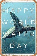 Happy World Water Day Retro Look 20X30 CM Ferro
