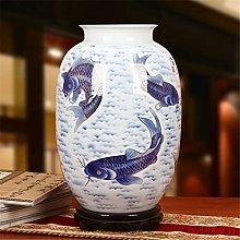 Hbao Dorato Blu e Bianco Porcellana,Vaso di loto