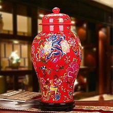 Hbao Vaso in porcellana rosso drago e fenice