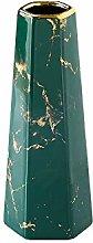 HCHLQLZ 20cm Verde Oro Marmo Fiori Vaso Decorativo