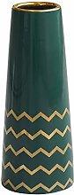 HCHLQLZ 25cm Verde Oro Fiori Vaso Decorativo di