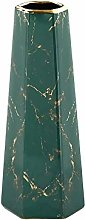 HCHLQLZ 25cm Verde Oro Marmo Fiori Vaso Decorativo