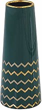HCHLQLZ 30cm Verde Oro Fiori Vaso Decorativo di