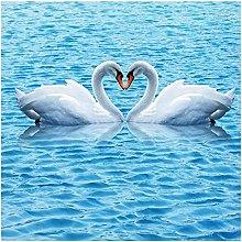 HD blu acqua increspature cigno Impermeabile Bagno