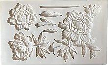 henan - Stampi in silicone per fondente con fiori