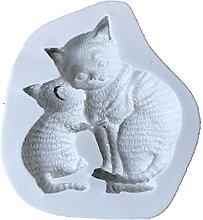 henan - Stampo per candele 3D a forma di gattino,