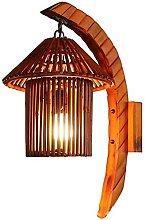 HEZHANG Lampada da Parete Bambù Naturale con