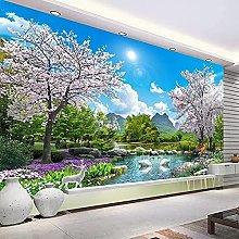 HGFHGD 3D soggiorno murale albero di ciliegio