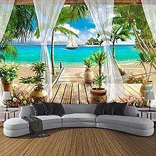 HGFHGD 3D soggiorno murale balcone spiaggia vista