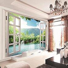 HGFHGD 3D soggiorno murale finestra cascata