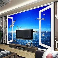 HGFHGD 3D soggiorno murale finestra vista mare TV