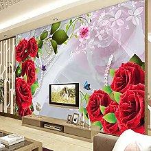 HGFHGD 3D soggiorno murale rosa rossa fiore TV