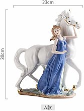 HGNMK Statua Ceramica Ragazza Cavallo Arte