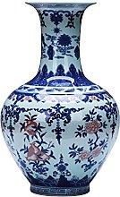 HGVVNM Ceramica, vaso di porcellana blu e bianco,