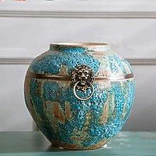 HGVVNM Vaso In Ceramica Con Anello In Rame Blue