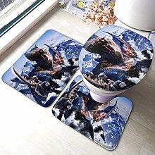 Hirola MHW - Set di 3 tappetini da bagno morbidi