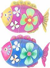 Holibanna 2Pcs di Pesce in Metallo Appeso Scultura