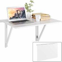 HOMFA Tavolo da parete, in legno bianco bianco