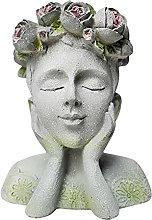 HOMHH Vasi da Fiori con Testa in Cemento per