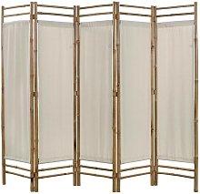 Hommoo Paravento Pieghevole a 5 Pannelli in Bambù