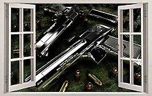 HQQPA Adesivo Effetto 3D Adesivo murale di armi