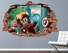 HQQPA Adesivo Effetto 3D Adesivo murale Smash Ar