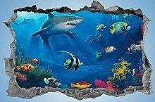 HQQPA Poster di adesivi murali 3D Pesci tropicali