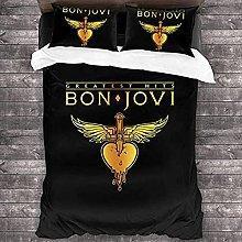 HSBZLH Set Copripiumino 3D Bon Jovi Golden 3D
