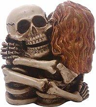 HXXyoga Creative Hug Posture Skull Statue Resina