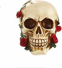 HXXyoga Resina Skull Rose Statue Scultura Scultura