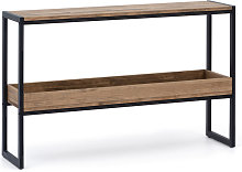 ICub 120x32 consolle nera con vassoio in legno