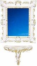 Idea Casa Set Consolle + Specchio Bianco Oro Finto