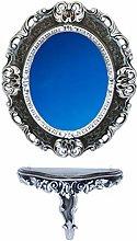 Idea Casa Set Consolle+Specchio Cornice Ovale Nero