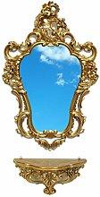 Ideacasa Completo Specchio e Mensola Consolle Oro