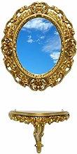 Ideacasa Consolle Oro + Specchio Ovale Dorato