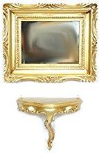 Ideacasa Mensola Consolle Dorata + Specchio Color