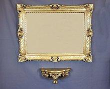 Ideacasa Mensola Consolle + Specchio Grande Dorato