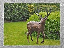 IDYL - Scultura in bronzo con cervo   157 x 58 x